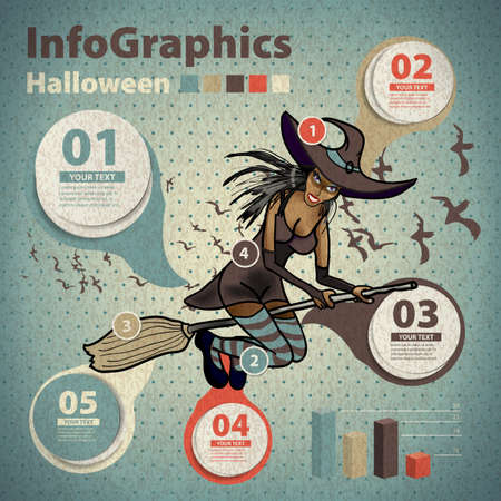 Template for infographic for Halloween and witch in vintage style Vector