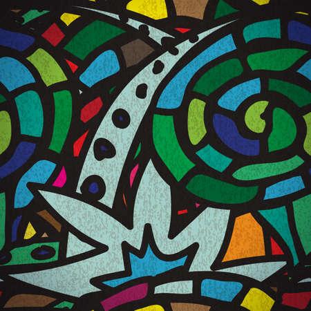 urban style: Seamless pattern with grunge cartoon urban style in green tones Illustration