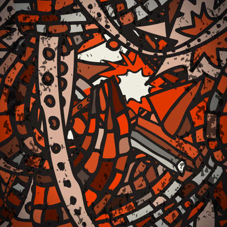 urban style: Seamless pattern with grunge cartoon urban style in red tones