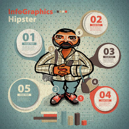 Template for infographic for Hipster Character in vintage style Vector