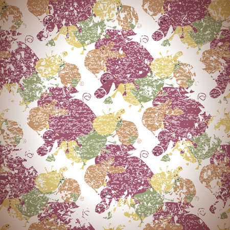 abstract seamless pattern with pigs and acorns in vintage style Vector