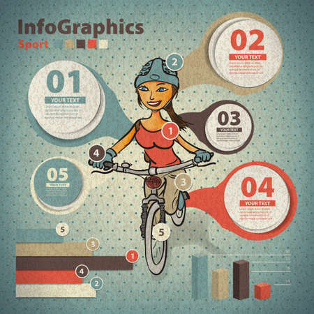 Template for infographic about cycling with a girl in vintage style Vector