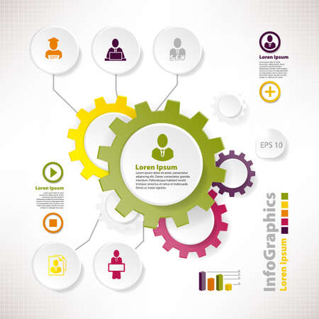 Modern vector elements for infographics with cogwheels and teamwork Illustration