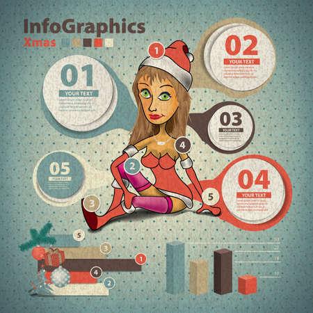 flirty: Modello per infografica del natale con una santa ragazza in stile vintage