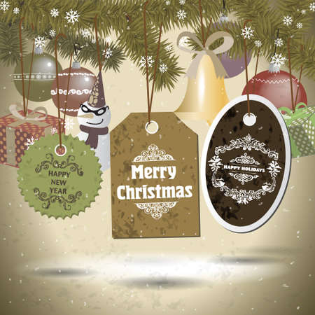 Set of cristmas badges and holiday icons, snowman, gifts and bells Vector