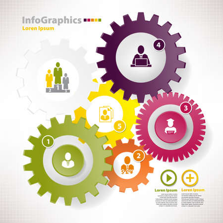 Modern vector elements for infographics with different cogwheels and teamwork