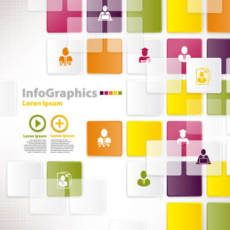 Modern infographic template for business design with background tiles