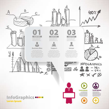 Modern infographic template for business design with sketch diagrams and graphics Vector