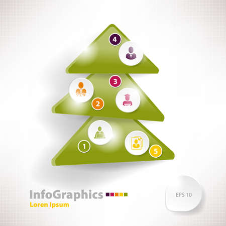 Modern infographic template for business design with christmas tree Vector