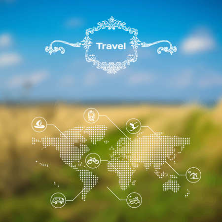 interface web: Vecteur mobile et th�me Voyage de l'interface Web