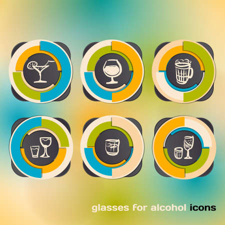 Icon set with glasses for alcohol Vector