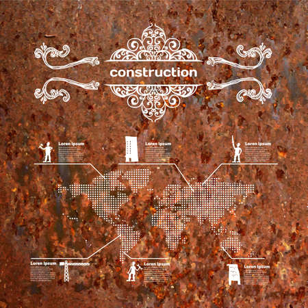 Vector mobile and web interface with rusty background on construction Vector