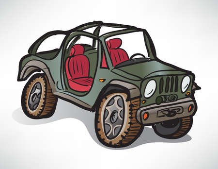 drawing off-road vehicle jeep khaki Vector