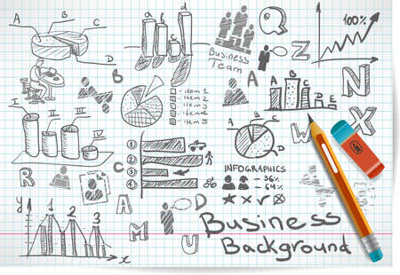 Vector background of doodles and sketches on the theme of business Vector