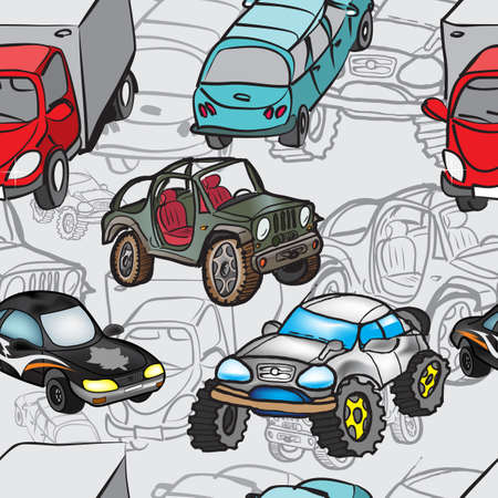 Seamless pattern of drawings of cars  Vector