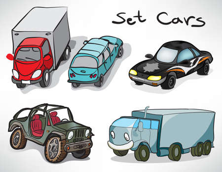 set of drawings of cars  Vector