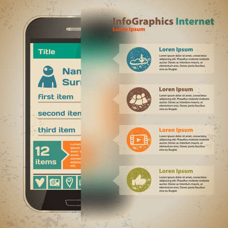 Template for infographic with smartphone in vintage style Vector