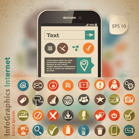 Template for infographic with smartphone and icons in vintage style Vector