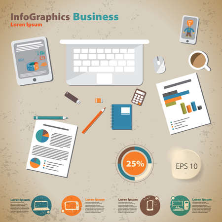 Template for infographic with desktop businessman in vintage style Vector