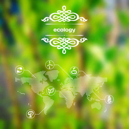 Vector mobile and web interface with ecology icons Vector