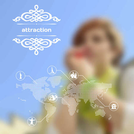 Vector mobile and web interface with landmarks and attraction Vector