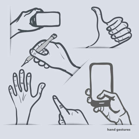 set of hand gestures with smartphone and other Vector