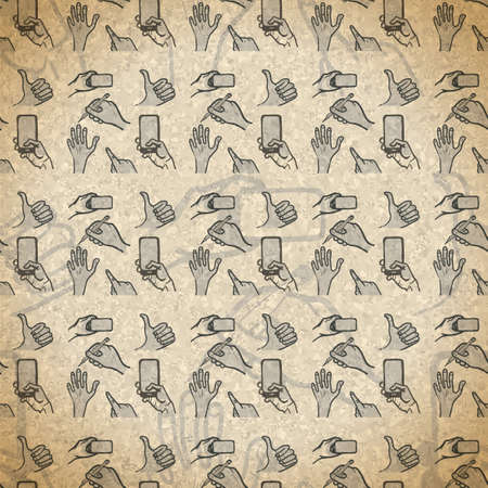 seamless pattern hand gestures with smartphone in vintage style Vector