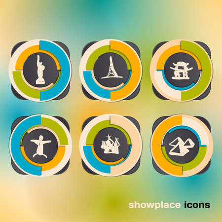 Icon set with landmarks and attraction Vector