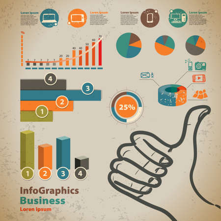 Set elements of infographics with thumbs up sign in vintage style  Vector