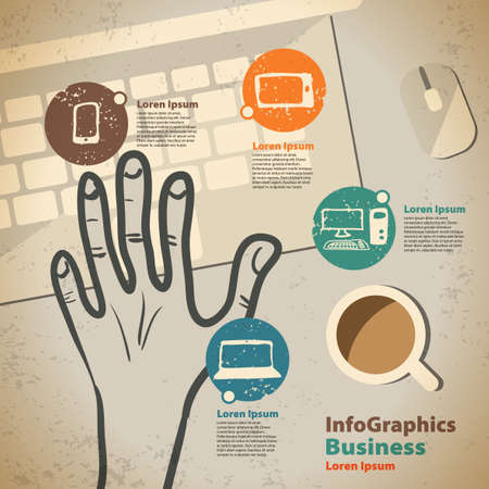Template for infographic with hand and keyboard in vintage style Vector