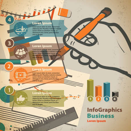 office paper: Template for infographic with writing hand and office paper in vintage style Illustration