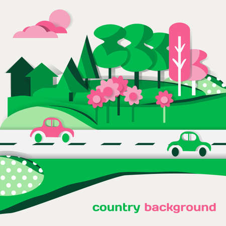 Country landscape background of green cardboard figures Vector