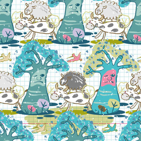 Seamless pattern of forest clearing and animals Vector