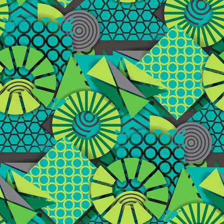 Seamless pattern of  green geometric shapes Illustration