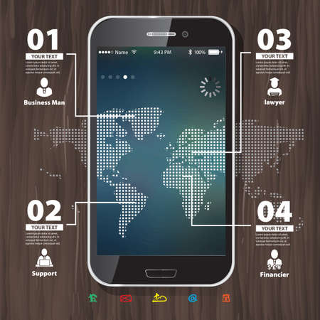 Template for infographic with Mobile Phone with Blurred Background and World Map Vector