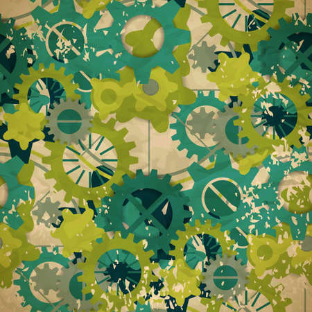 Seamless abstract pattern of pastel green gear in vintage style Vector
