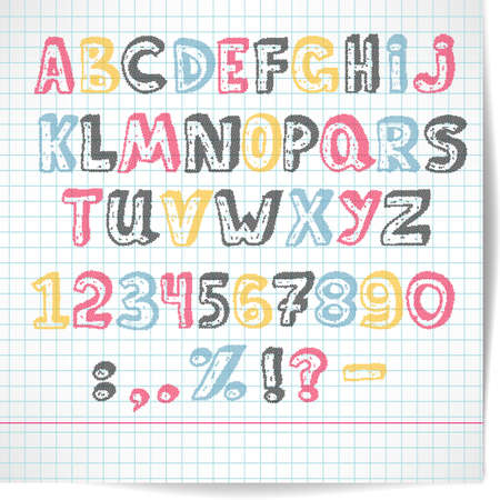 rasterized: Alphabet of rasterized point multicolored letters