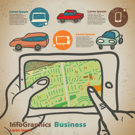 Set for infographics on navigation on mobile devices, tablet Vector