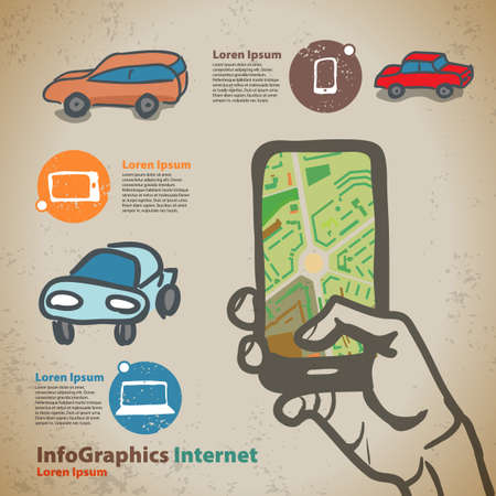Set for infographics on navigation on mobile devices, smartphone Vector