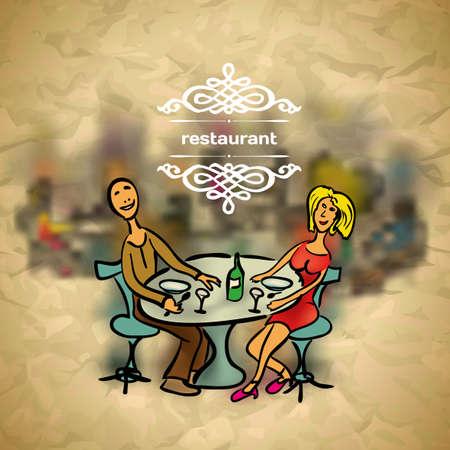 pareja comiendo: Antecedentes en la gente de estilo vintage en el restaurante con telón de fondo borroneada Vectores