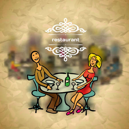 Background in vintage style people in the restaurant with blured backdrop Vector