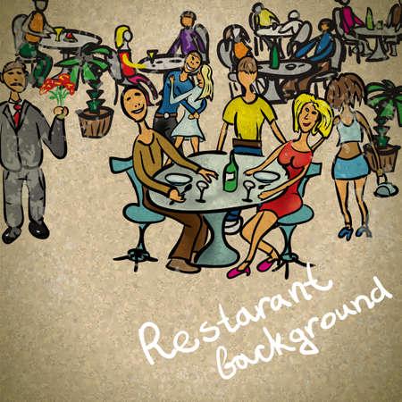 pareja comiendo: Antecedentes en el pueblo de estilo vintage en el restaurante