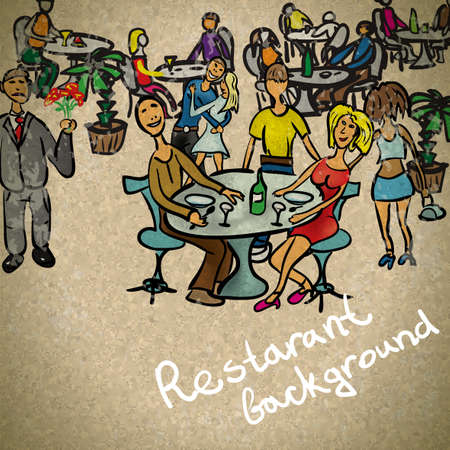 dinner party table: Background in vintage style people in the restaurant