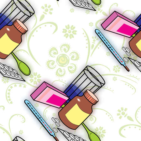 flu prevention: Seamless pattern with medications for colds and flu