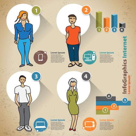 Template for infographic with people and usage statistics devices Vector