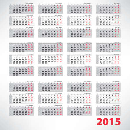 Vector planning quarterly calendar 2015 Vector