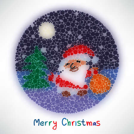 Christmas card with Santa Claus style blurred round Vector