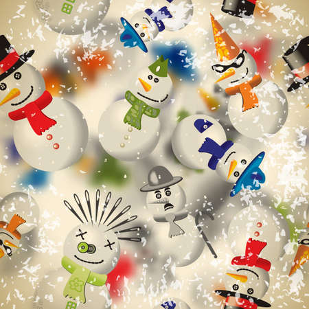 chaplin: Seamless pattern with snowmen with blurred backdrop in vintage style