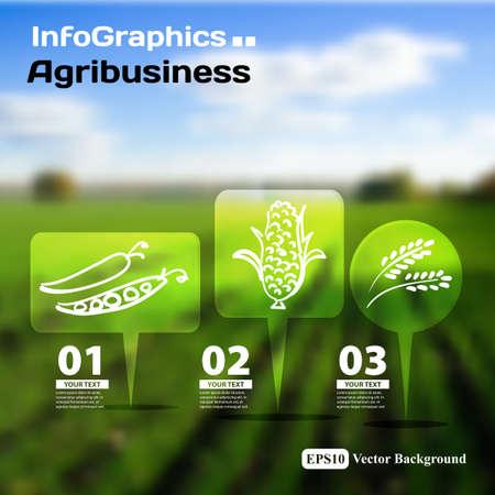農業のトピックのぼやけた写真の背景を持つインフォ グラフィックの設定します。  イラスト・ベクター素材