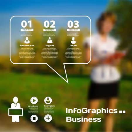 Set of infographics on blurred photographic background of the business Vector